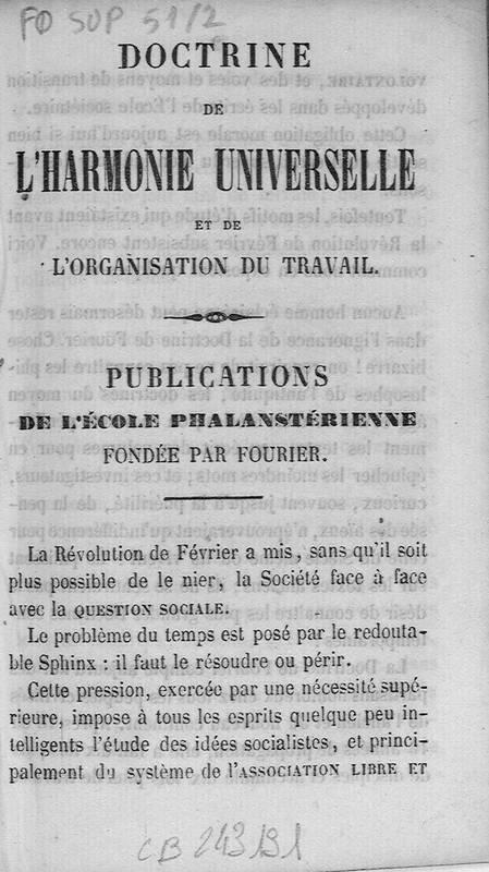 Doctrine de l'harmonie universelle et de l'organisation du travail : publications de l'École phalanstérienne fondée par Fourier
