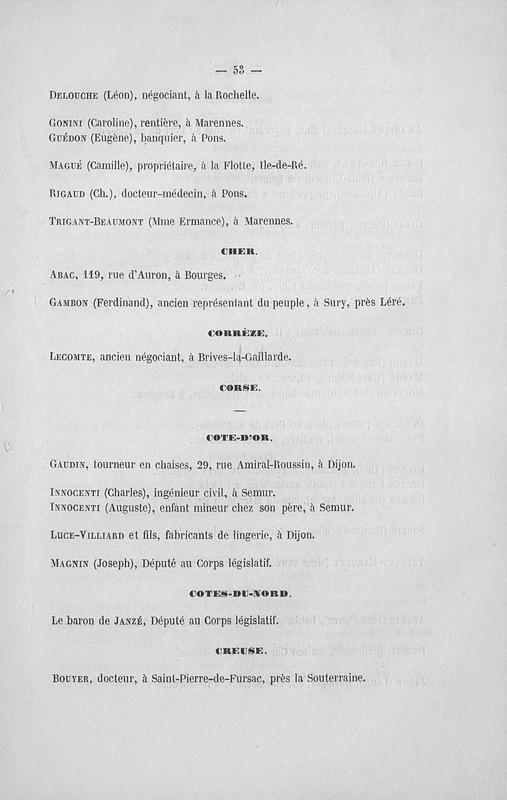 Société du crédit au travail : communication personnelle : associés commanditaires au 23 février 1868