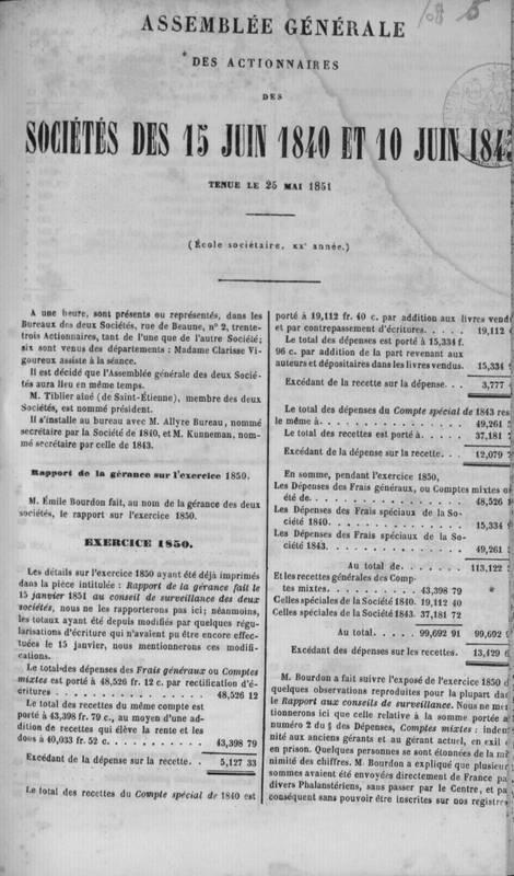Assemblée générale des actionnaires des Sociétés des 15 juin 1840 et 10 juin 1843 tenue le 25 mai 1851