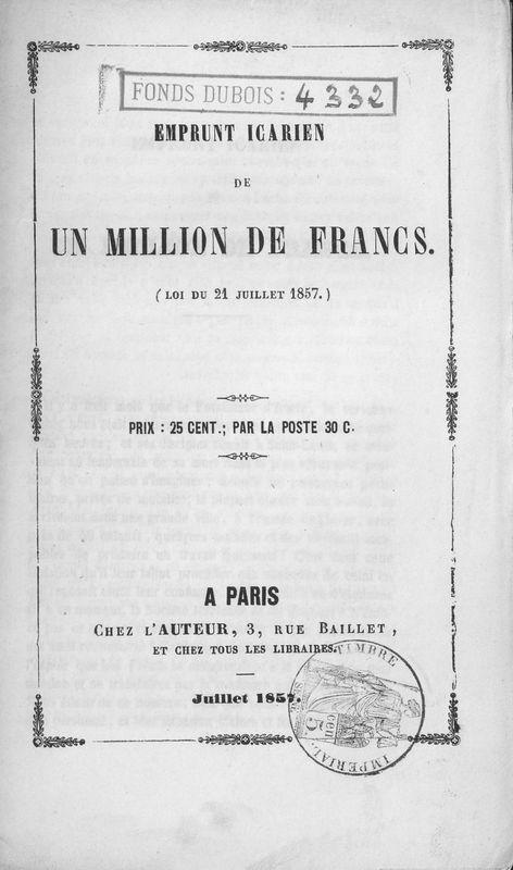 Emprunt icarien de un million de francs