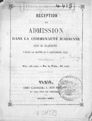 Réception et admission dans la communauté icarienne des 38 icariens partis du Havre le 8 septembre 1853
