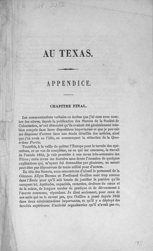 Au Texas. Appendice.