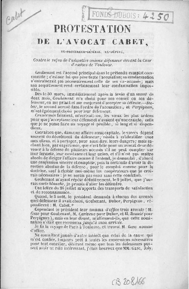 Protestation de l'avocat Cabet : ex-procureur-général, ex-député, contre le refus de l'admettre comme défenseur devant la Cour d'assises de Toulouse