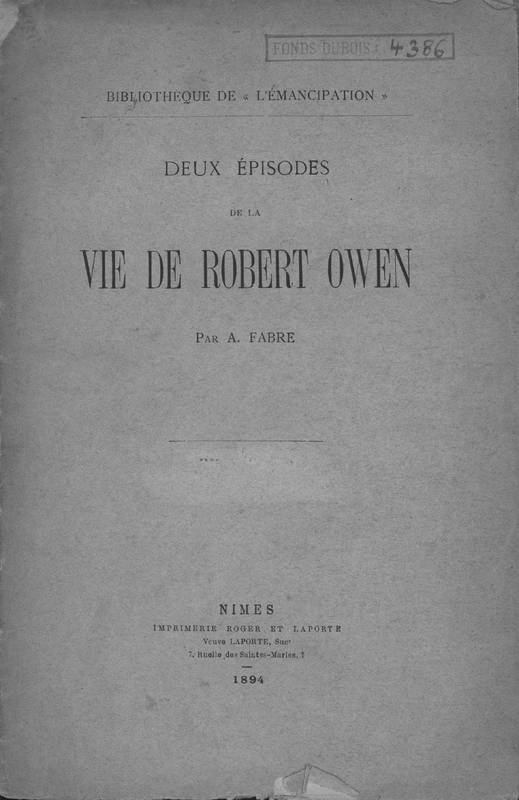 Deux épisodes de la vie de Robert Owen