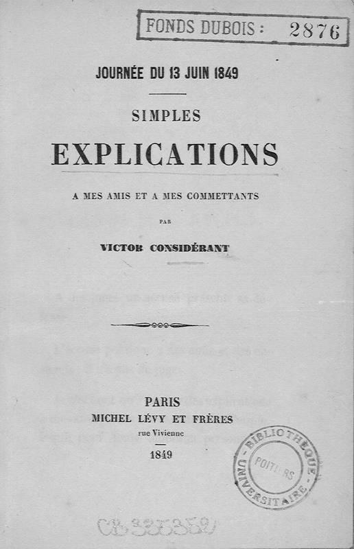 Journée du 13 juin 1849 : simples explications à mes amis et à mes commettants