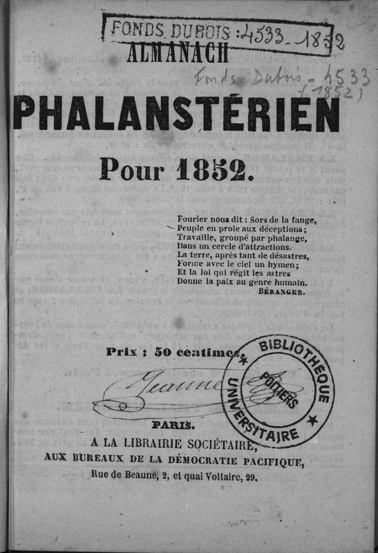 Almanach phalanstérien pour 1852