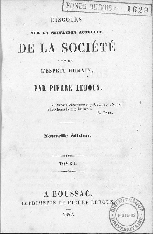 Discours sur la situation actuelle de la société et de l'esprit humain. Premier discours : aux philosophes.